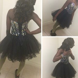 Black prom dress with multi color crystals